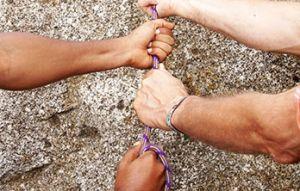 Hände am Seil